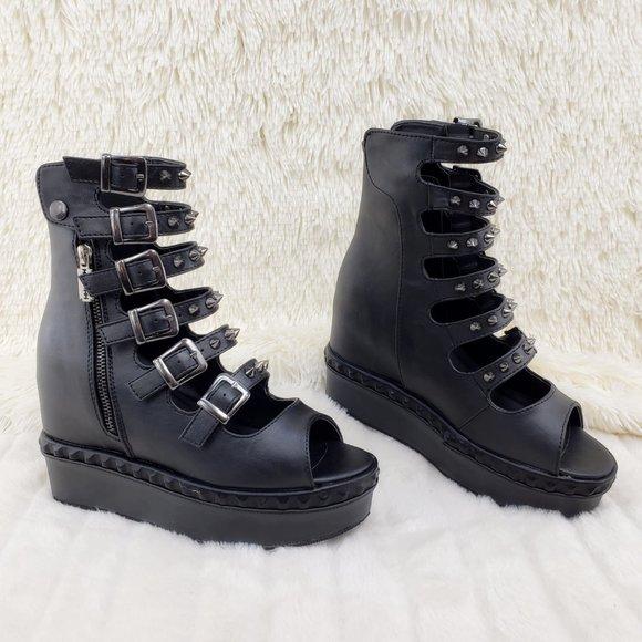 New Womens Slip On Platform Ladies Goth Punk Fashion Fringe Creepers Shoes